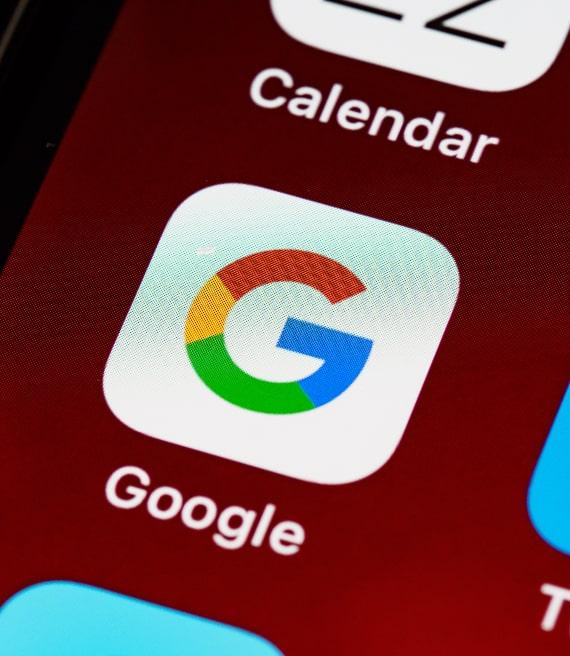 Pulsante Google schermo smartphone