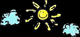 Disegno sole sorridente con nuvolette